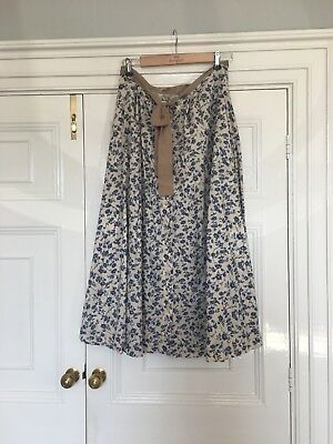 Beautiful Blue & Cream Lawn Cotton Skirt With Silk Tie 14/L