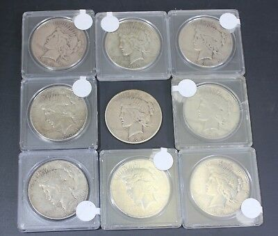 Lot of NINE 1934-S Silver Peace Dollars $1 US Coins KEY RARE SCARCE DATE
