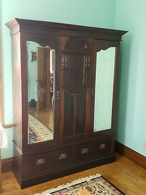 Antique 1890s Walnut Wood Knockdown Armoire Wardrobe Closet 2 Door 81  ... & ANTIQUE 1890S WALNUT Wood Knockdown Armoire Wardrobe Closet 2 Door ...