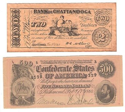 Confederate Currency - $500 & $2 Bank Of Chattanooga