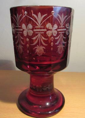 Antique Bohemian / German Ruby Overlay & Etched Glass Goblet Circa1880