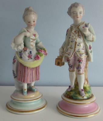 Pair of German /  French ? Meissen Mark Porcelain Figures / Figurines