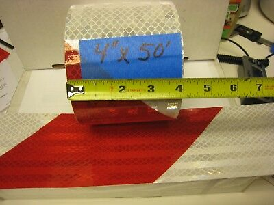 """WHITE RED Reflective Diagonal Stripe  Conspicuity Tape 4"""" x 50'"""