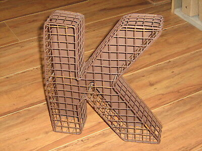 Metal Wire Rustic Home Decor Letter K Hang Or Stand 3D 3 Dimensional Farm  House