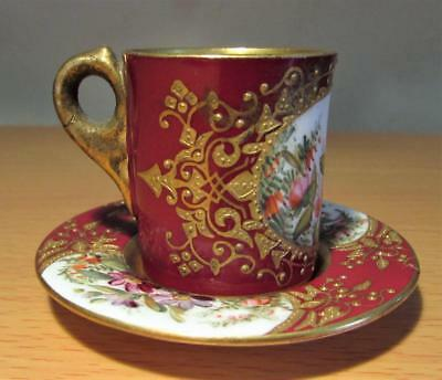 Antique Miniature Coalport Porcelain Cup & Saucer Handpainted & Gilded