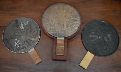 Antique Japanese Bronze S/3 Large Mirrors In Custom Box Each W Different Finish