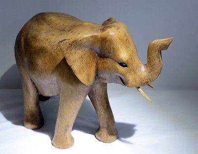 Delightful Large Carved Wooden Elephant Ornament - 20cm Length. Carving / Wood