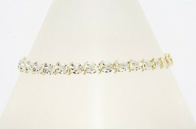 "$2,250 .45Ct Natural Round Cut White Diamond ""s"" Style Bracelet 10K 2 Tone Gold"