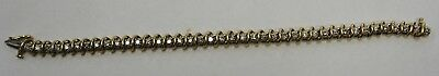 "Exquisite Vintage Ladies 40 Diamond Tennis Bracelet in 14K Yellow Gold 7"" Long"