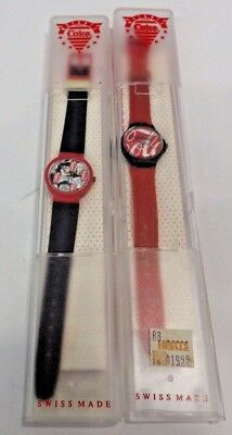 TWO Coca Cola Watch-Swiss Made-Water Resistant w/ Instruction Papers.
