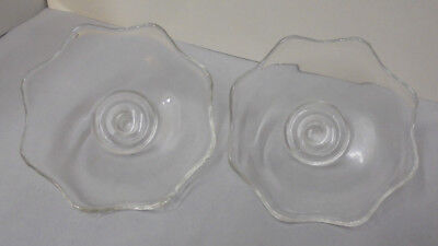 """Pair Peg Nappy For Chandlesticks, Glass, 2.75"""" Tall, 6"""" Across Vintage"""