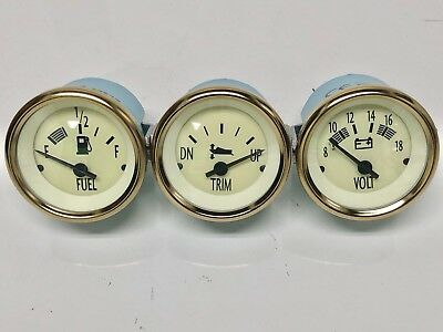 Teleflex Bennington Boat~Pontoon 3 Gauge Set~Fuel Volt Trim (Merc)~Marine~Gauges
