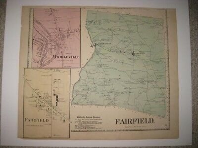 Antique 1868 Fairfield Middleville Herkimer County New York Handcolored Map Rare