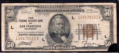 Wonderful 1929 U.S. San Francisco, California National Currency $50 Note EG544