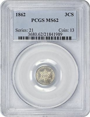 1862 Three Cent Silver MS62 PCGS