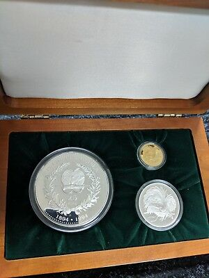 Rare 1994 PAPUA NEW GUINEA 3-COIN 100TH ANNIVERSARY BIRD OF PARADISE SET