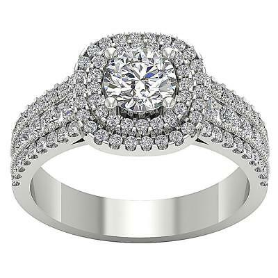 Solitaire Halo Engagement Ring I1 H 1.85Ct Real Diamond 14Kt White Gold SZ 9-13