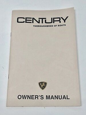 CENTURY BOAT~ORIGINAL 1980'S OWNERS MANUAL~RESORTER~ARABIAN~CORONADO~Others