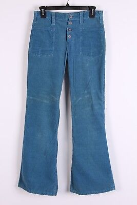 Vtg 70S Corduroy Button Front Bell Bottom Flare Pants Womens Size 28X30