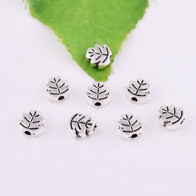 Hot 30pcs Tibetan silver Solid Leaves Charm Spacer Beads Jewelry Findings DIY7mm