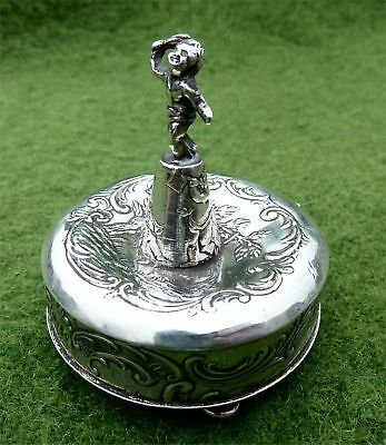Small German 930 Silver Figural Box - Sheffield Import In 1893 - Ring Holder?