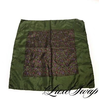 Rivetz Made in Italy Silk Ancient Madder Olive Classic Paisley Pocket Square NR