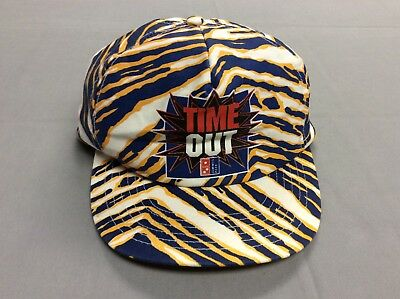 Vintage 80S Time Out Zubaz Wild Print Domino's Pizza Snapback Hat! One Size!