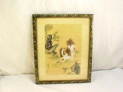 Fabulous Vintage Framed Signed Chinese Paper Painting Of Dog & Grasshopper