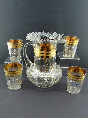 Antique Victorian Water Pitcher  Set & glasses .Gold Trim & Hand-Painted Detail