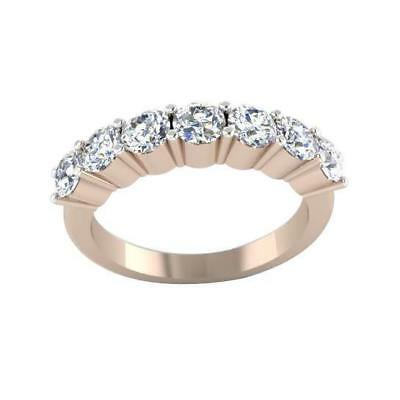 7 Stone Wedding Ring VS1 F 0.95Ct Natural Diamond 14Kt Solid Rose Gold Size 4-12