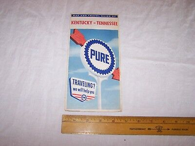 1963 PURE Gas & Oil KENTUCKY TENNESSEE Map