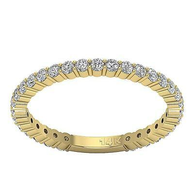Eternity Stackable Ring SI1 H 0.75Ct Genuine Diamond 2.10MM 14K Solid Gold SZ 6