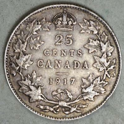 Canada 1917 25 Cents Silver Coin