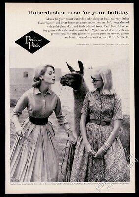 1959 llama and women photo Peck and Peck dress fashions vintage print ad