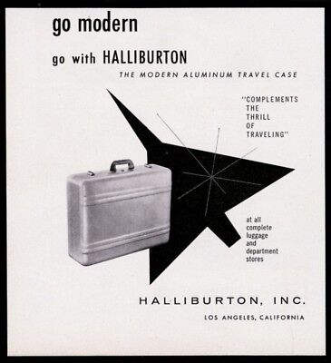 1957 Zero Halliburton aluminum suitcase photo fighter plane art vintage print ad