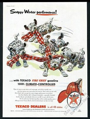 1956 Dalmatian puppy dogs playing with scarf Texaco gas vintage print ad
