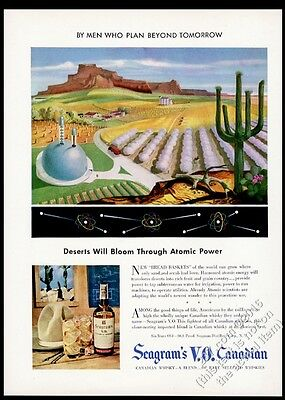 1947 streamlined future atomic nuclear power plant Seagram's VO vintage print ad