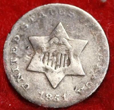 1851 Philadelphia Mint Silver Three Cent Coin