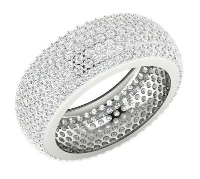 SI1 H Real Diamond 3.20Ct Eternity Anniversary Ring SZ 7.25 Pave Set White Gold
