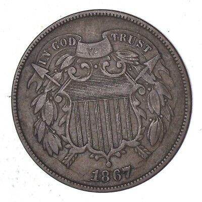 *TWO CENT* 1867 US TWO 2 Cent Piece - First Coin with In God We Trust Motto *362