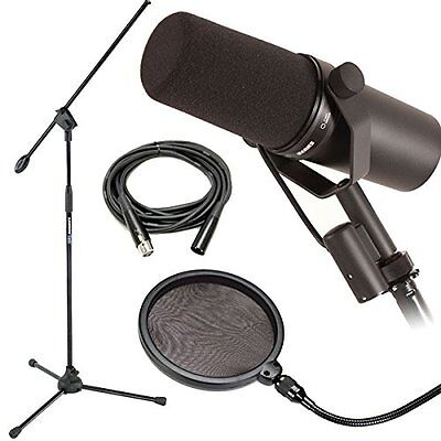 Shure*SM7B Dynamic Vocal Mic Bundle*Microphone Boom Stand+Pop Filter+Cable NEW