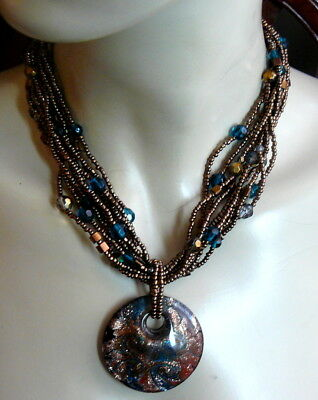 Teal Bronze Gold Glass Seed Bead 10 Strand Huge Murano Glass Pendant Necklace!