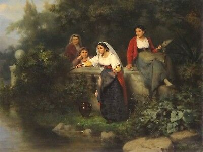 Fine 19th Century French Women & Children River Fishing Antique Oil Painting