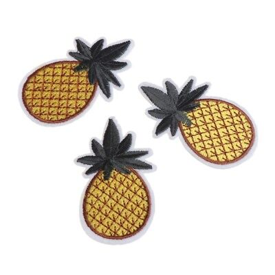 3PCS Pineapple Embroidered Patches Iron on Sew Applique DIY Decoration Patches