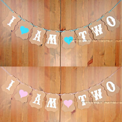 I AM TWO 2nd Birthday Party Bunting Garland Banner Baby Girl or Boy  Decoration