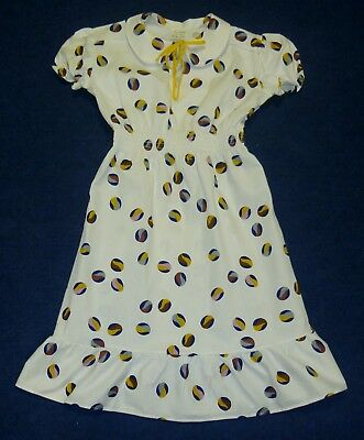 VINTAGE 1970's UNWORN GIRLS WHITE MULTICOLOURED CIRCLE PATTERNED DRESS 7-8 YEARS