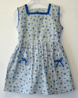 VINTAGE 1970's UNWORN GIRLS BLUE & WHITE POLKA DOT PATTERNED DRESS AGE 5-6 YEARS