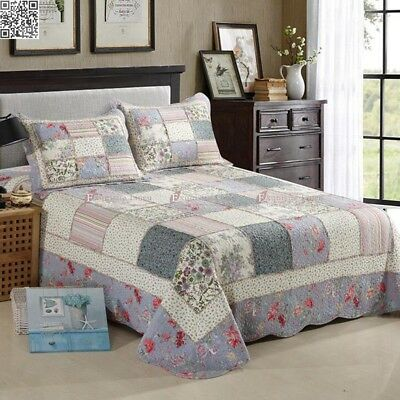 Cotton Florals Quilted Coverlet/BedSpreads King/Queen Patchwork 3Pc Pillow Cases