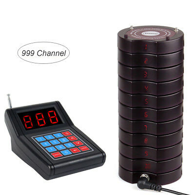 Restaurant Wireless call Paging Queuing System 1*Transmitter+10*Coaster Pager US