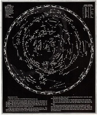 1941 Vintage STAR and CONSTELLATION Map Chart Antique ASTRONOMY Print  5127